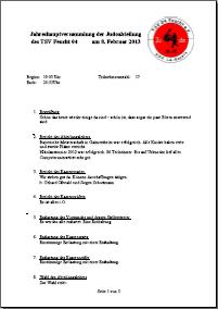 Protokoll Jahreshauptversammlung 2013