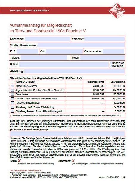 Bild: PDF: Aufnahemantrag TSV Feucht 04 e.V.